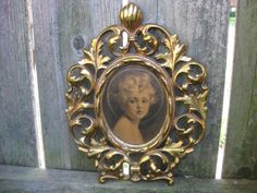 Antique Oval Gold Gilt  Metal Picture Frame by StrokeOfLuckDesign, $37.50