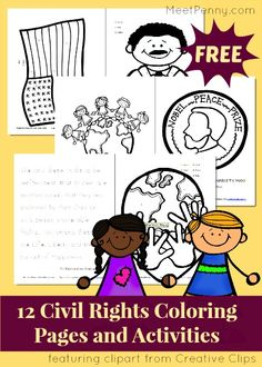 FREE civil rights coloring pages and activities for Black History month in February. Great for Dr Martin Luther King Jr Day too.
