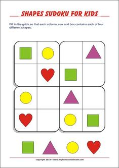Pictures Sudoku for children! Free Sudokus for preschool and grade … - Grundschule Printable Shapes, Printable Puzzles For Kids, Preschool Printables, Puzzles Für Kinder, Sudoku Puzzles, Craft Projects For Kids, Activities For Kids, Visual Perception Activities, Ideas
