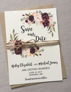 Rustic Marsala save the date, from Love of Creative Design Co.