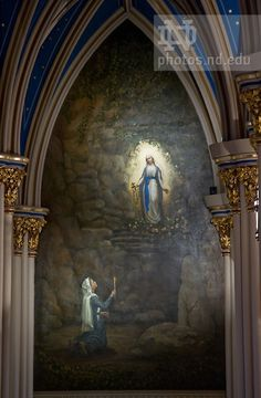 Went on retreat at Notre Dame this weekend. This image was absolutely stunning.    Mural of Our Lady of Lourdes appearing to St. Bernadette in the Basilica of the Sacred Heart..Photo by Matt Cashore/University of Notre Dame