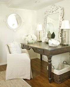 Love the mirror painted an Old White color, propped atop a gorgeous desk in a beautiful dark taupey chocolate brown.