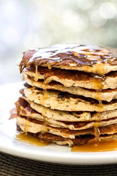 Banana pancakes with a rich maple butter glaze. Perfect for your weekend breakfast!