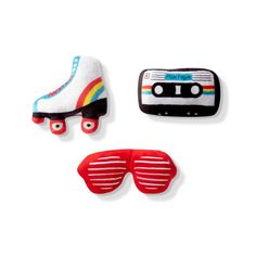 """Skate back to the 80's with these three mini squeak toys - all that's needed is your subWOOFer. Each toy is approximately 2.5"""" x 5"""" Each toy features an extra loud squeaker Small Dog Toys, Small Dogs, Cat Online, Dog Backpack, Interactive Dog Toys, Colorful Party, Pet Clothes, Dog Walking, Pet Shop"""