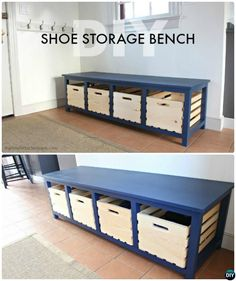 DIY Wood Crate Shoe Storage Bench Instructions-20 Best #Entryway Bench DIY Ideas Projects #Furniture