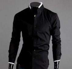 Trendy Series Stand Collar Long Sleeve Dress Shirt For Men