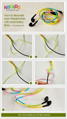 how to decorate your headphones with embroidery floss