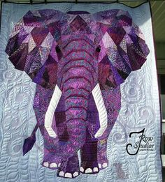 May I introduce to you my newest creation I call Ellie and Squeak Pieced and quilted by Terry Rowland 2016 using a pattern by Violet Craft called Elephant Abstractions