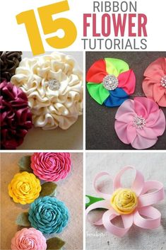 Create Easy Ribbon Flowers to add to sewing projects, headbands, home decor, and more! Click here for the step by step tutorials. #thecraftyblogstalker #ribbonflowers #diyflowers #ribbonflowertutorials Ribbon Rosettes, Satin Ribbon Flowers, Handmade Flowers, Diy Flowers, Fun Projects, Sewing Projects, Ribbon Flower Tutorial, Flower Crafts, Diy Tutorial