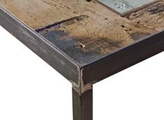 Custom steel table with tiled top and spotted gum bench seat our gardens pinterest steel - Tavole di legno grezzo ...