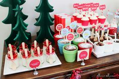 Beautiful dessert table at a Christmas Hot Cocoa Bar!  See more party ideas at CatchMyParty.com!  #partyideas  #hotcocoa