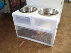 Dog or cat food station- not for us, but by far the easiest version of this idea I have ever seen. .. Sterilite and a box cutter.