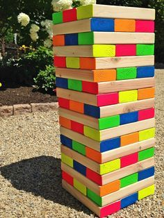 I made this colorful outdoor giant Jenga game last Summer, and am so excited to share it with you today! Painting the ends of each block with paint that can withstand outside elements is the icing …