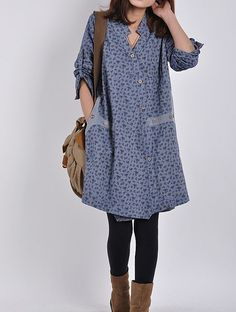Blue cotton dress long sleeve dress casual di originalstyleshop, $59.00
