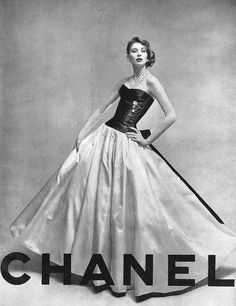 Suzy Parker in gorgeous Chanel gown, Vogue 1956.    SP is my fave fashion model of the '50s. Everything about this image is just… perfect.
