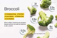 Broccoli is packed with nutrition and is very low in calories. A one-cup serving provides 31 calories, grams of protein, almost no fat, and just 6 grams of carbs—mostly fiber. Chickpeas Nutrition Facts, Broccoli Nutrition Facts, Barley Nutrition, Broccoli Health Benefits, Cheese Nutrition, Keto Nutrition, Nutrition Guide, Nutrition Information, Fruit Nutrition