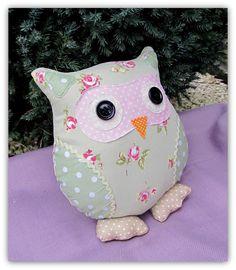 Small owl cushion, Petunia - Folksy