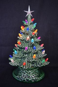 ceramic christmas tree lighted with small plastic bulbs made to order