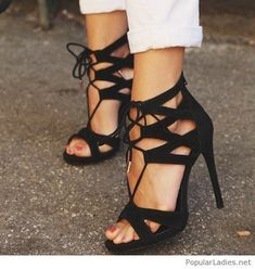 amazing-black-lace-up-high-heels #promheelsstrappy #promheelscinderella #promheelslace