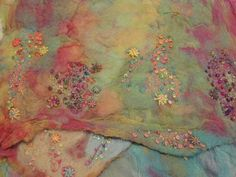Hand dyed nuno felting with hand and machine embroidery and beading