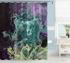 Contemporary shower curtain, abstract art, turquoise, aqua, purple and green shower curtain, Mood