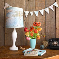 DIY Map Projects - Love the lamp and the bunting! Diy Map Bunting, My Home Design, Home Interior Design, Map Projects, Crafty Projects, Paint Cans, Diy And Crafts, Easy Diy, Diys