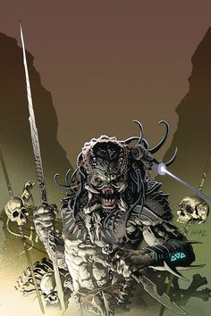 Top 10 Predator Comics of all time. Including classic comics like Batman vs. Predator, Predator: Big Game and Predator: Concrete Jungle. Alien Vs Predator, Predator Comics, Predator Costume, Predator Cosplay, Wolf Predator, Predator Alien, Comic Books Art, Comic Art, Alien Concept Art