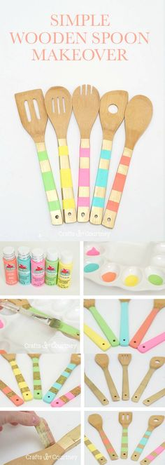 Use Dishwasher Safe Mod Podge for this unique wooden spoon makeover - these are so colorful and make great gifts!