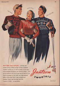 vintage ski - 1947 JANTZEN TOTEM TOUCHE SKI KING SWEATER