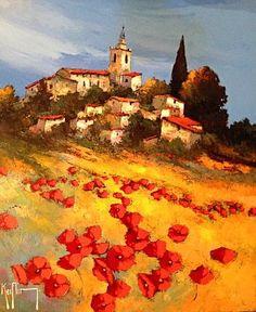 Roger Keiflin Beautiful Nature Scenes, Beautiful Landscapes, Nature View, Naive Art, Classical Art, Landscape Illustration, City Art, Home Art, New Art