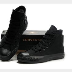 All Black Converse Womens 8