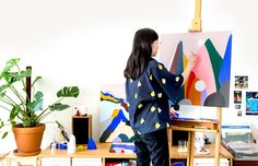 Sydney artist Evi O in her studio painting works for her upcoming show 'Double Cream' with TDF Collect. Photo – Nikki To for The Design Files.