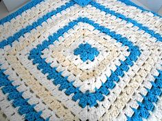 Crochet From The Middle Baby Blanket Blue White & by kamsstorecom