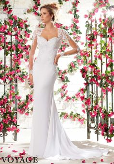 6795 Wedding Gowns / Dresses Satin Back Crepe with Crystal Beaded Venice Lace Appliques