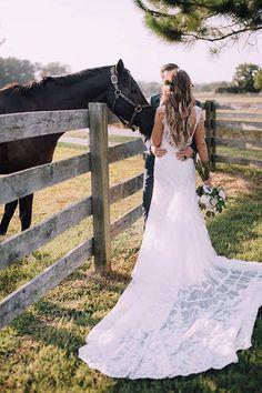 Boho Backyard Wedding in Virginia, Bride and Groom Portraits with Horse