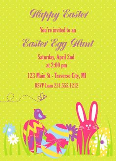 Printable Easter Egg Hunt Invitation - Bunny with Eggs Easter Invitation