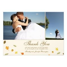 Fall autumn leaves wedding thank you flat 2 photo announcements