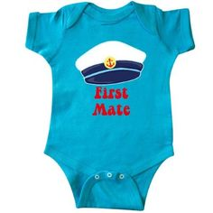 Inktastic First Mate Boy Infant Creeper Baby Bodysuit Sailor Anchor Gift One-piece, Size: 18 Months, Blue