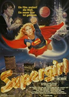 poster de Supergirl, 1985 - original vintage film poster by Renato Casaro for the movie starring Helen Slater, l Helen Slater Supergirl, Supergirl Movie, Supergirl Superman, Peter O'toole, Faye Dunaway, Cinema Posters, Film Posters, Marvel Dc, Popeye Cartoon