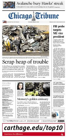 March 9, 2013: What a mess - more like a scrap heap of trouble for the people who stole school buses and tore them apart. The FBI is looking into the NIU vice president. And the Blackhawks streak is no more.