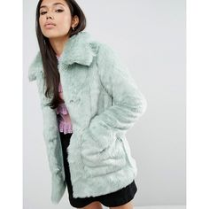 ASOS Coat in Pastel Faux Fur ($113) ❤ liked on Polyvore featuring outerwear, coats, green coat, tall coats, fake fur coats, faux fur coat and imitation fur coats