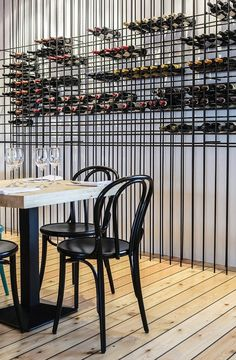 (Wine display)Mar Restaurant in Reykjavik, Iceland Restaurant Bar, Decoration Restaurant, Restaurant Design, Vintage Restaurant, Bar Interior, Wine Shelves, Wine Storage, Cave A Vin Design, Wall Design