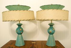 Pair of 1950s Lamps With Gold Stars and Speckles very Mid Century Modern Atomic Age