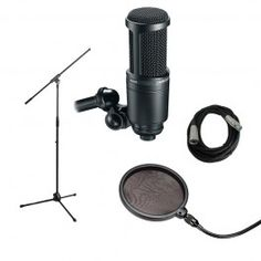 Audio+Technica+AT2020+Vocal+Recording+Bundle+-+EXPANDED+with+Mic+Stand,+Pop+filter+and+XLR+Cable+