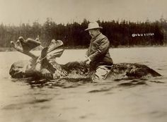 This 1912 campaign picture, of Theodore Roosevelt riding a bull moose, is the oldest faked photo I know of; it was made almost eighty years before the invention of Photoshop.