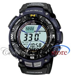 Casio Pro Trek PAG240B-2 Watch Triple Sensor Mens - Blue Dial Resin Case Quartz Movement