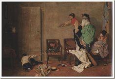 Buscando el ratón- Manuel García Hispaleto (Sevilla, 1836 - Madrid, 1898), fue un pintor español. Fue un artista afamado que se destacó por sus retratos y sus cuadros de carácter histórico, literario y costumbrista. Era hermano del también pintor Rafael García Hispaleto.