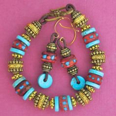 Tibetan Prayer Bead, Turquoise and Two Tone Metal Bracelet with Earrings