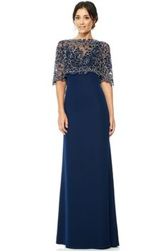 Floor-Length High Neck Appliqued Half Sleeve Jersey Evening Dress With Illusion Mob Dresses, Fashion Dresses, Wedding Dresses, Dinner Gowns, Evening Dresses, Elegant Dresses, Beautiful Dresses, Mother Of Groom Dresses, Bride Gowns