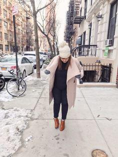 Pink coat & cute pink hat #winterstyle